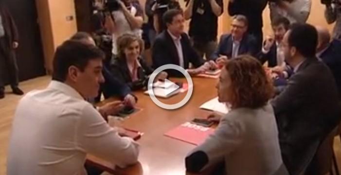 Pedro Sánchez se reúne con la comisión negociadora del PSOE, después de fracasar su investidura